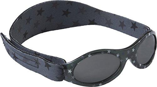 Original Dooky Baby Banz Grey Star Baby Sonnenbrille für Mädchen und Jungen, 0 - 2 Jahre, UV-A & UV-B Schutz, bruchsicheres Glas mit Neoprenband, grau