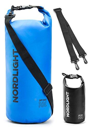 Dry Bag 10l Wasserdichter Beutel - (Blau) | Packsack mit Tragegurt, Strandsafe Dokumententasche Für, Strand, Kanu, Stand Up Paddling, Wandern, Kajak, Tauchen, Angeln, Schwimmen, Segeln, Surfen
