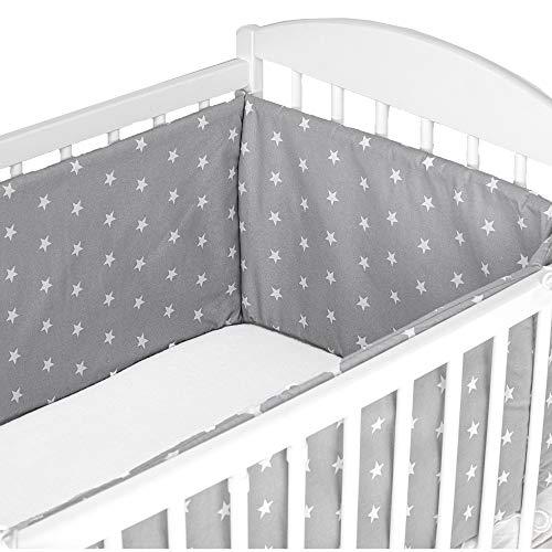 paracolpi lettino - paracolpi culla neonato lettino pali (Grigio con stelle bianche, 210 x 30 cm)