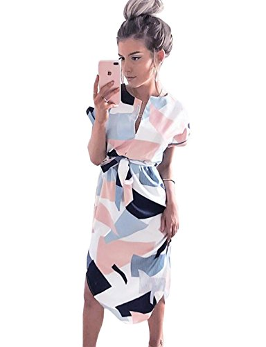 LitBud Womens Dresses Summer for Women Ladies Short Sleeve Casual Vintage Office Party Holiday Belted Shift Midi Tunic Dress Pink Size 8 10 L Black to School