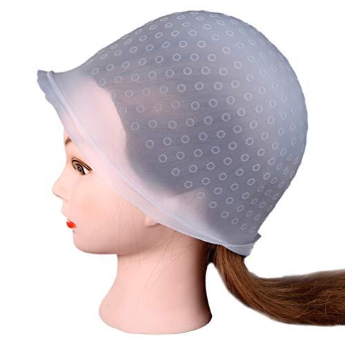 Solustre Silikon Hervorhebungskappe Wiederverwendbare Haarfarbe Färbekappe Verarbeitungskappe mit Haken für Den Salon zu Hause Verwenden Zufällige Farbe