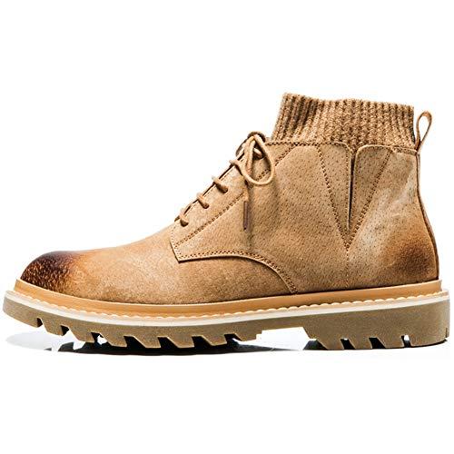 CAIFENG Calcetines con cuello y tobillo para hombre, botas de trabajo con cordones de piel auténtica, punta redonda, estilo bruñido, suela antideslizante (color: marrón, talla: 42 EU)