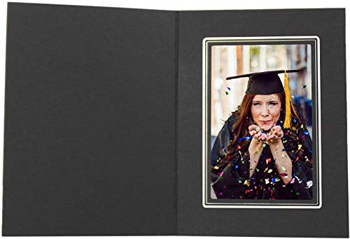 Golden State Art, Acid-Free Photo Folders for 4x6 Picture,Pack of 50 Black with Sliver Lining Cardboard/Paper Frames,Great for Portraits and Photos,Special Events: Graduation,Wedding