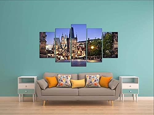 GSDFSD Print On Canvas Wall Art |Decorative Canvas for Your Living Room or Bedroom | Charles Bridge in Prague | 5 Panels 150 x 80 cm Frameless