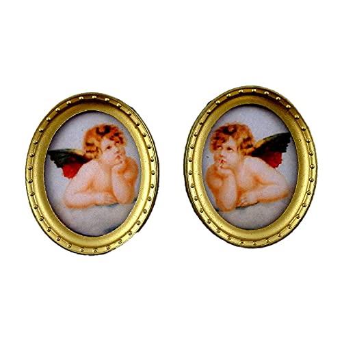 Melody Jane Poupées Miniature Accessoire 2 Chérubin Photos Peinture en Ovale Cadre Or