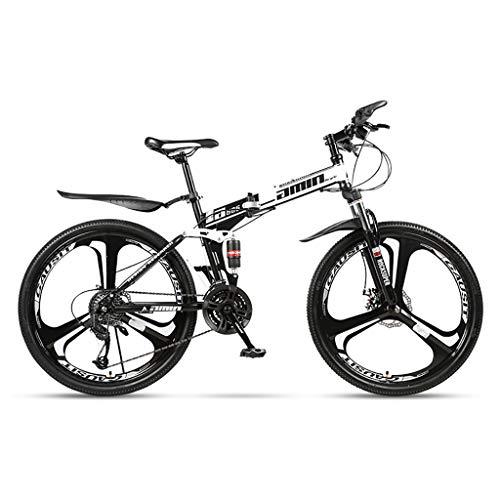 ZTMN Bicicleta de montaña Plegable de 26 Pulgadas Freno de Disco Doble de Bicicleta de suspensión Completa de 21 velocidades, Bicicleta de montaña Plegable para Adultos