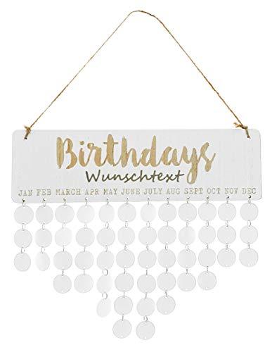 MIK Funshopping Personalisierter immerwährender Geburtstagskalender Geburtstagsplaner aus Holz DIY Individuell beschriftbar weiß