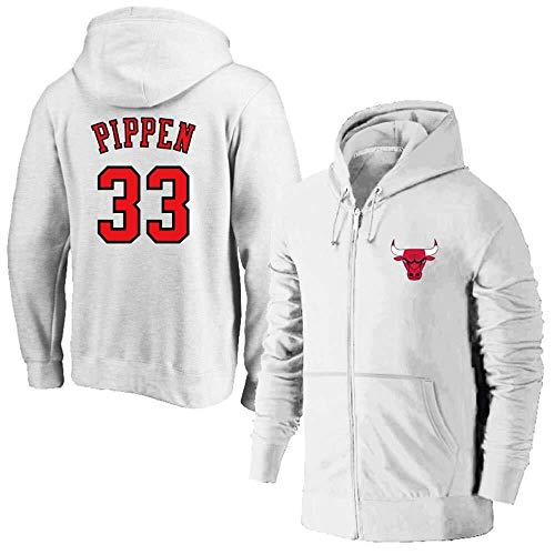 Zxwzzz NBA Kapuzen Basketball-Jacke for Männer Chicago Bulls No.1 No.23 Rose ReißverschlussHoodie Basketball Trainingsanzug Fitness Bekleidung Jacke (Color : White33, Size : X-Large)