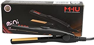 MHU Professional Travel Size 0.5 inch Mini Flat Iron Tourmaline Ceramic Hair Straightener Black