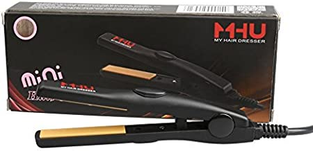 MHU Professional Travel Size 0.5 inch Mini Flat Iron Tourmaline Ceramic Hair Straightener Black