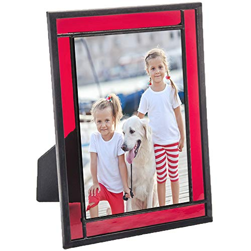 Red Picture Frame Stained Glass Home Décor Office Deck Table Top 4x6 Photo Horizontal Vertical Easel Back Series J Devlin
