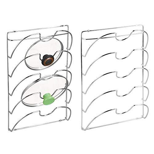 mDesign Juego de 2 Soportes de Pared para Utensilios y menaje de Cocina – Práctico Organizador de Tapas de ollas y sartenes – Útil Organizador de Cocina de Metal – Plateado