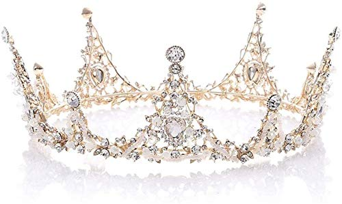 KEEBON For Women, Golden Color Wedding Hair Crown Crystal Shiny Rhinestone Bridal Headpiece Hair Wreath For Dress Matching Bracelets Earrings Rings Necklaces