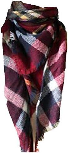Wander Agio Womens Warm Scarf Triangle Shawls Large Scarves Stripe Plaid Fichu Big Wine Red product image