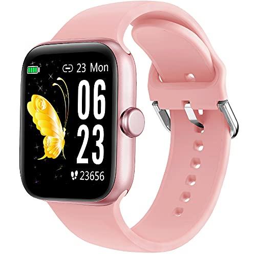 Holabuy Reloj Inteligente,  Smartwatch Hombre Mujer niños Impermeable IP68,  Pulsera de Actividad Inteligente con Pulsómetros Podómetro Monitor de Sueño Contador de Caloría para Android iOS (Rosa)