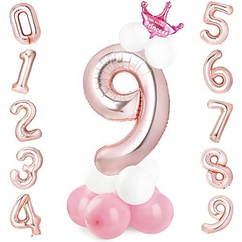 GeeRic Folienballon Nummer 9 ORO-Rosa im Zahlen-Design Mit 14 Luftballons + 1 Krone für Geburtstag, Kindergeburtstag Mädchen, Motto-Party, Dekoration, Folien-Luftballons, Zahlenluftballon