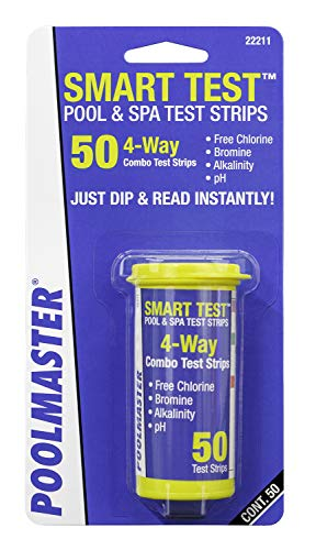 Poolmaster 22211 Smart 4-Way Swimming Pool and Spa Water Chemistry Test Strips, 1 Pack, White and yellow