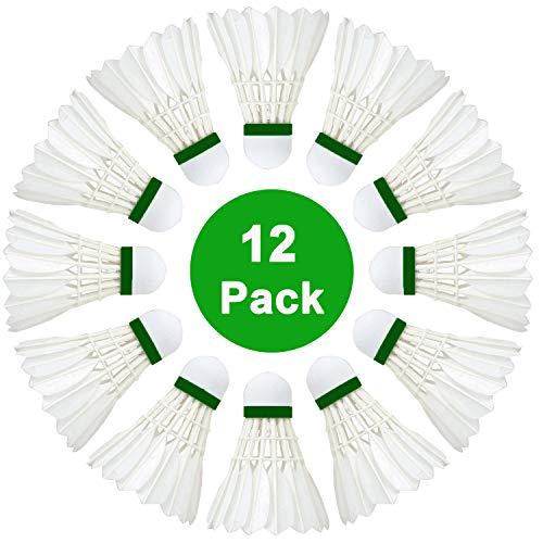 SenLuKit [12er Dose] Badminton Federbälle, Gänsefeder Badminton Set, Bälle Naturfederbälle mit hoher Stabilität und Haltbarkeit, Federball Training Badmintonbälle für Bewegung, Unterhaltung