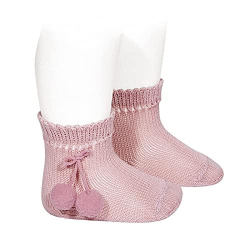 Condor - Calcetines cortos perlé con borlas - BEBE Y NIÑA (ROSA PALO, 4)