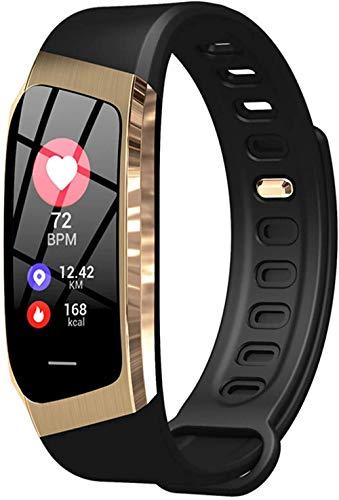 Reloj inteligente de moda con pantalla a color, frecuencia cardíaca, presión arterial, cámara remota, bandas deportivas (color: negro plata) - negro dorado