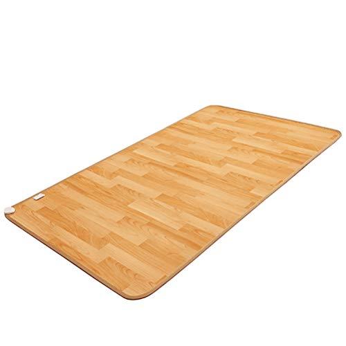 Houten patroon pu-leer waterdicht koolstofvezel verwarming trekken om tapijt met dubbele controle 7-traps temperatuurinstelling voor winter verwarming thuisaccessoires verwarmde thermostaat mat, 145 x 145 cm