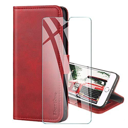 PZEMIN Handyhülle für Motorola Moto E7 Plus/Moto G9 Play Hülle + 1x Panzerglas Schutzfolie Film Bildschirmschutzfolie - Wallet Hülle Kartensteckplätzen Schutzhülle(Rot)