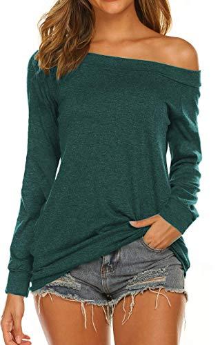 Blusa de manga larga con hombros descubiertos para mujer con cuello de barco
