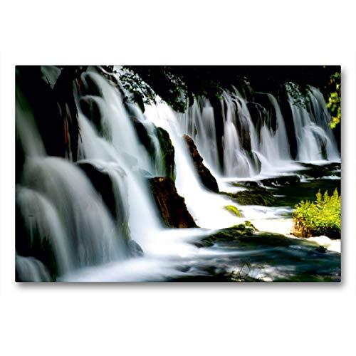 CALVENDO Premium Textil-Leinwand 90 x 60 cm Quer-Format Jiuzhaigou Bamboo Wasserfall, Leinwanddruck von Armin Joecks