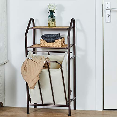 DICTAC Badregal mit Wäschekorb Badzimmer Wäschekorb mit Regal handtuchhalter Wäschesortierer, Badezimmerregal 2 Ablagen mit Wäschesammler Wäschesack