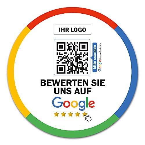 Social Media Aufkleber mit QR Code Link für Firmen Unternehmen Marken Sticker personalisiert für Auto Bus Schaufenster Theke Marketing Werbung (04 Google, Rund)