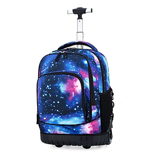Rolling Backpack, Children School Bag with Removable Trolley Wheel, Laptop Backpack, Freewheel Carryon Trolley Luggage Suitcase,Wheeled Rucksack Student Computer Trolley Carry Luggage (C)