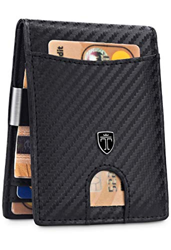 𝗖𝗢𝗠𝗣𝗔𝗖𝗧𝗢 𝗬 𝗙𝗨𝗡𝗖𝗜𝗢𝗡𝗔𝗟 - A pesar de su pequeño tamaño, la cartera de alta calidad tiene compartimentos para 9 tarjetas. El compartimento exterior deslizante permite un acceso rápido a las tarjeta. 𝗣𝗜𝗡𝗭𝗔 𝗣𝗔𝗥𝗔 𝗕𝗜𝗟𝗟𝗘𝗧𝗘𝗦 𝗜𝗡𝗧𝗘𝗚𝗥𝗔𝗗𝗔 - La pinza esta firmement...