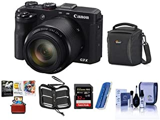 Canon PowerShot G3-X Compact Digital Camera - Bundle with Camera Case, Spare Battery, 16GB Class 10 SDHC Card, Cleaning Kit, Screen Protector, Mac Software Package