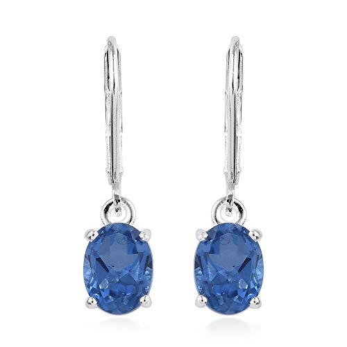 TJC Ceylon Color Quartz 925 Sterling Silver Lever Back Dangle Drop Earrings for Women & Girls, 2.75 ct