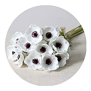 Real Touch Artificial Anemone Flowers Silk Flores Artificiales for Wedding Holding Fake Flowers Home Garden Decorative Wreath,White