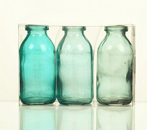 Desconocido Sandra Rich. Botella de cristal de tamaño pequeño. 3 botellas pequeñas de 10,5 x 5 cm aprox. Turquesa - azul. 1165-10-87.