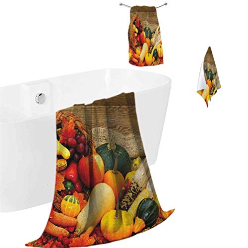 Harvest Bathroom Towels Thanksgiving Related Foods Scattered on Wooden Table Vegetables Fruits Super Absorbent and Fast Drying Vermilion Brown Green