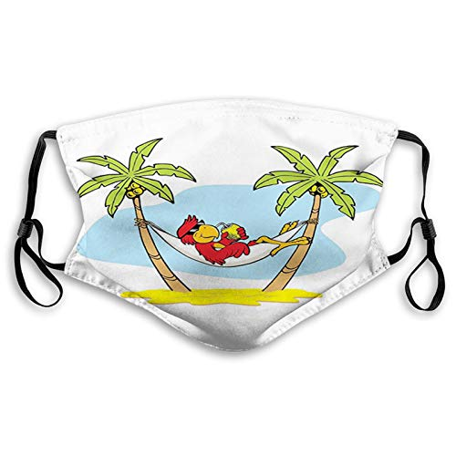 Stylish Face Mask with Replaceable Filters Activated Carbon Mask, Daily Use Washable Skin-Friendly Proof Dust Mask, Funny Illustration Parrot Lying Down in Hammock Between Palm Tree Shade in Tropics