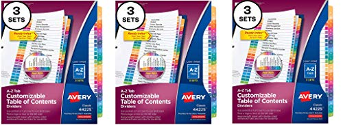 Avery A-Z Tab Dividers for 3 Ring Binders, Customizable Table of Contents, Multicolor Tabs, 3 Sets (44225) (Pack of 3)