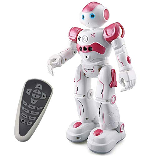 Threeking Robots Gifts for 8+ Years Old Kids RC Robot Toy Programmable Smart Sensing Music Robot Toy Birthday Gift Present Indoor Toys - Female Voice