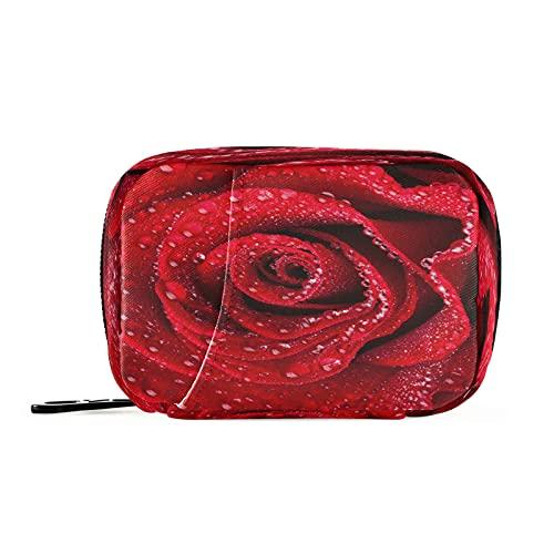 xigua Pastillero 8 días 3 veces al día, pastillero semanal con 8 compartimentos, pastillero de viaje portátil para medicamentos, suplementos, vitaminas, hermoso primer plano, rosa roja