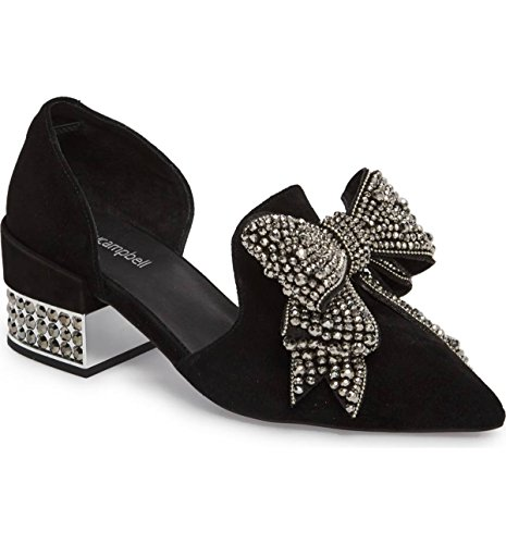 Jeffrey Campbell Valenti Black Suede Silver Embellished Bow Pointed Pump Loafer (6)