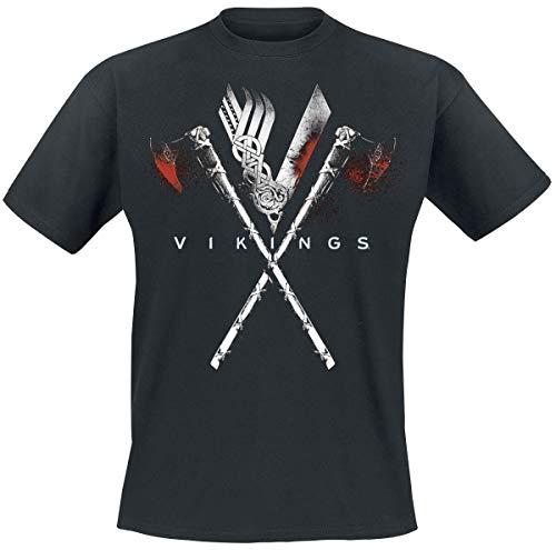 Vikings Axe heren unisex T-shirt zwart - S - Vikings