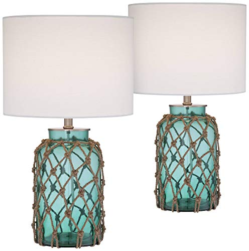 Crosby Nautical Accent Table Lamps Set of 2 Coastal Blue Green Rope Net Off White Drum Shade for Living Room Family Bedroom - 360 Lighting