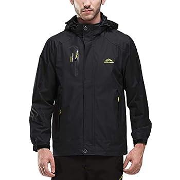 JOGERBRO Mens Waterproof Rain Jacket with Hood Hiking Fishing Windproof Raincoat