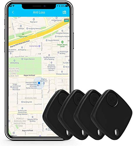 Key Finder Smart Tracker - Bluetooth Key Finder Locator with App for Phones Purse Keychain Bag Luggage - Anti-Lost Phone Finder Wallet Tracker Device - Replaceable Battery Item Finder - 4 Packs