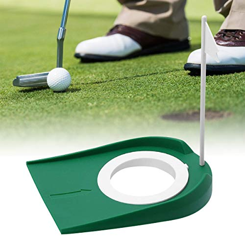 Golf Putting Cup Indoor Practice Training Aids, Golf Practice Putting Cup with Hole and Flag Plastic, for Office Garage Yard Indoor Outdoor Golf Putting Hole Putter Regulation Cup (1 pc)