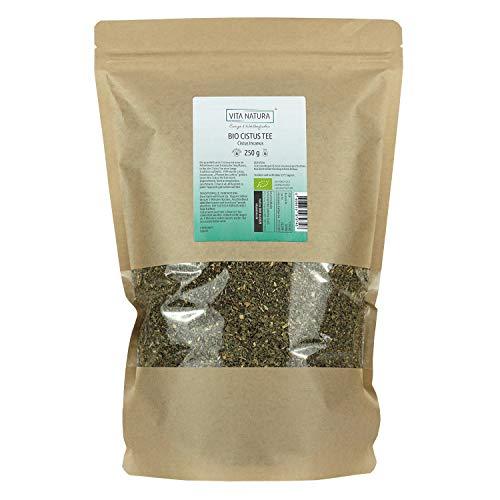 VITA NATURA Cistus Tee - Zistrosentee Bio Tee - Griechischer Bergtee - in Zypern hergestellt - Zistrosen-Kraut - enthält Polyphenole - 250 g Packung