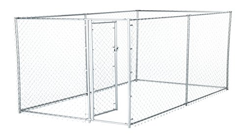 Lucky Dog 41028EZ 10' x 5' x 4' Heavy Duty Outdoor Galvanized Chain Link Dog Kennel Enclosure