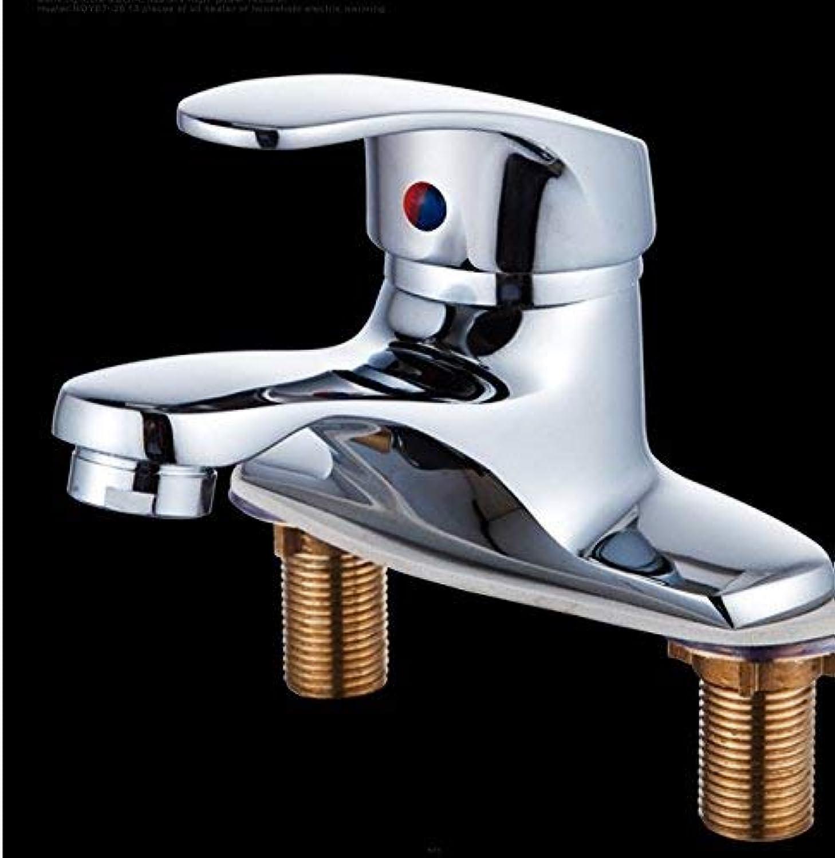 Ywqwdae Mischer-Wasserhahn Warmes und kaltes Kupfer Doppeltes Loch Waschen Sie Ihr Gesichtsbad